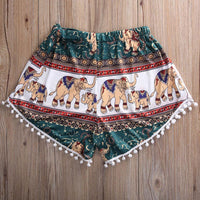 Sexy Hot Tassel Trim Print Shorts