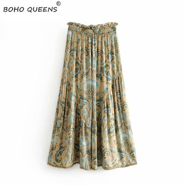 loose ruffles sashes rayon Boho long pants
