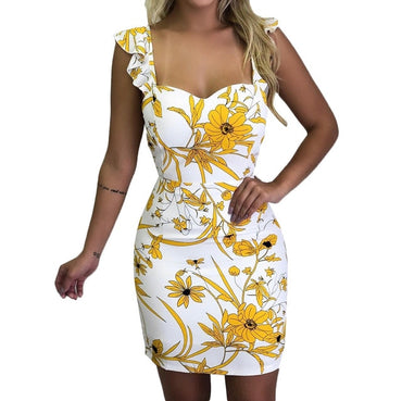 Sleeveless Floral Printed Elastic Waist Mini Dress