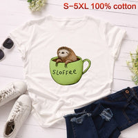 o neck short sleeves cartoon soft animal female t shirt