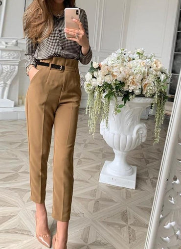 casual belt patchwork long pants