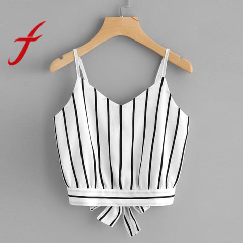 Striped Tie Back Cami Casual Spaghetti Strap Tank Tops
