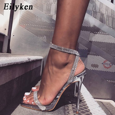 Silver Bling Crystal Sexy Sandals High Heels