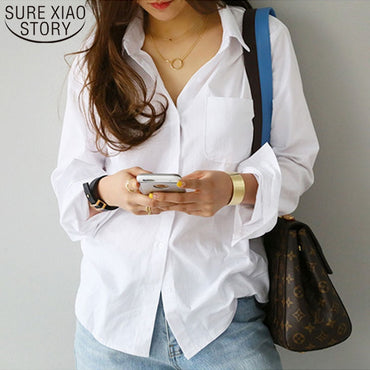 Casual White Turn-down Collar OL Style Loose Blouses