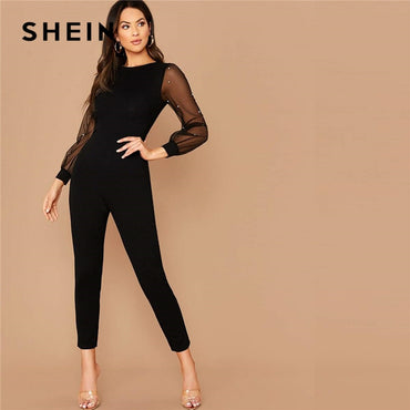 Mesh Sleeve Form Fitted Jumpsuit