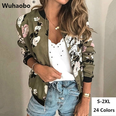 Fashion Retro Floral Print Casual Zipper Up Bomber Jacket