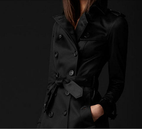 Double-Breasted Slim Long Trench Coat
