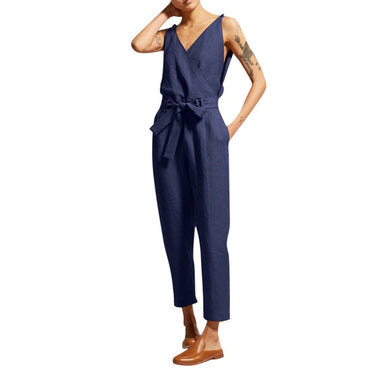 Fashion Short Sleeved Solid Loose Jumpsuits