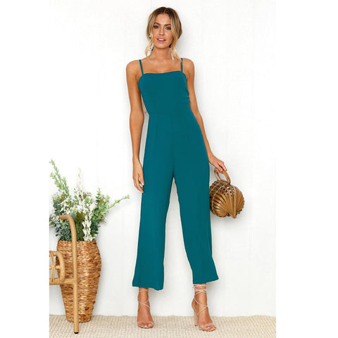 Casual Straps Zipper Holiday Jumpsuit