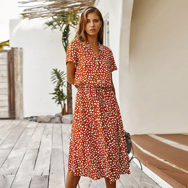 Short Sleeve Single-Breasted Bohemian Midi Dresses