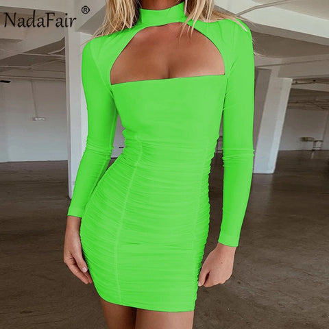 Ruched Halter Mini Party Long Sleeve  Dress