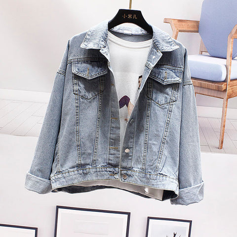 loose five-pointed star sequins bat sleeve denim jacket