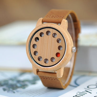Casual relogio Leather Band Wood Watch