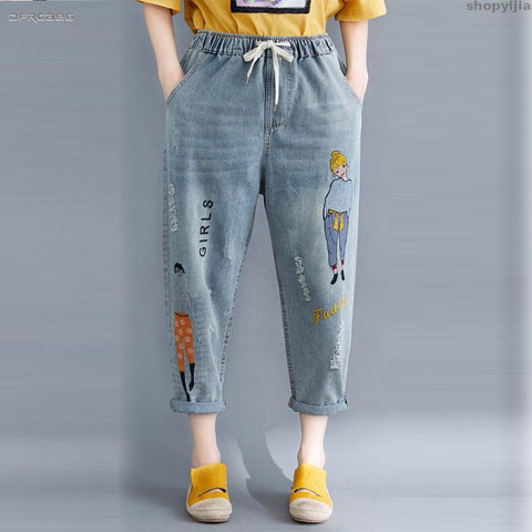Cartoon Embroidery Boyfriend Jeans