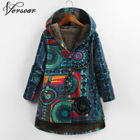 Floral Print Hooded Pockets Vintage Oversized Coats
