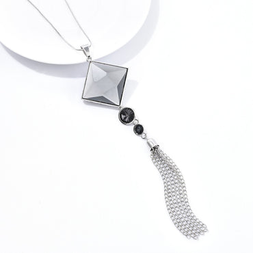 Square Pendant Long Chain Tassel Sweater Necklace