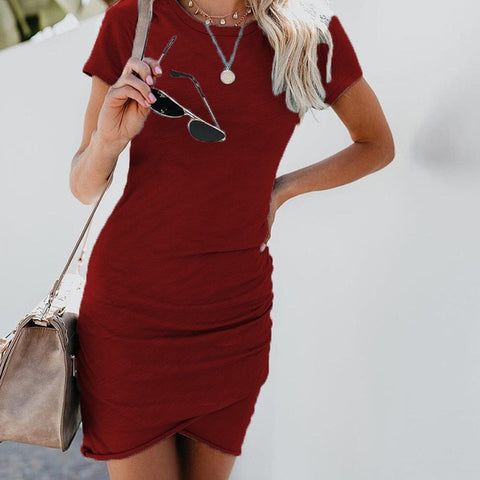 Short Sleeve Solid Sexy Dress