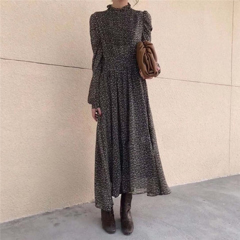 Elegant Print A-Line Floral Full-Sleeved Waist-Controlled Dresses