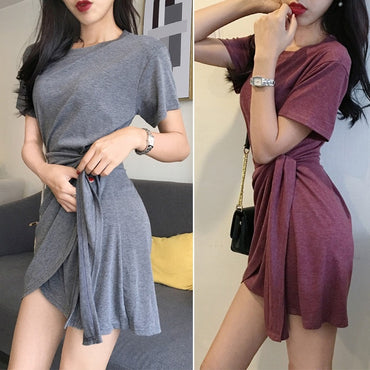 O-Neck Short Sleeve Solid Casual Lace Up Asymmetrical Dress