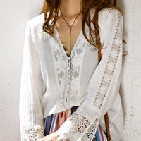 Long Sleeve Cotton White Blouse Shirt