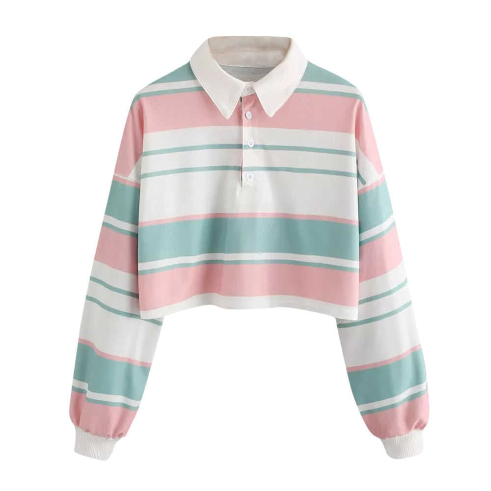 Striped Long Sleeve Turn Down Collar Sweatshirts