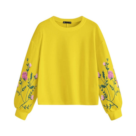 O-Neck Long Sleeve Botanical Floral Print Sweatshirt