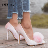 Velvet Pumps Point Toe Stiletto Pom Pom Heels