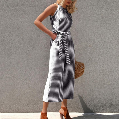 sleeveless striped jumpsuits