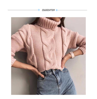 Knitted Turtleneck Pullovers Casual Soft Jumper