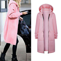 Warm Zipper Open Hoodies Sweatshirt Long Jacket