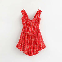 vintage pleated short boho romper