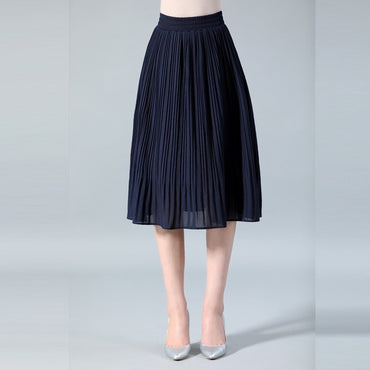 Thin Solid Pleated Skirts
