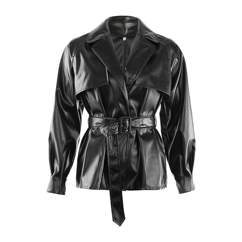 Long Sleeve Solid Belt Fashion Jacket
