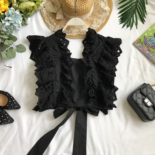 V-Neck Lace Hook Flowers Openwork Ruffled Crop Tops