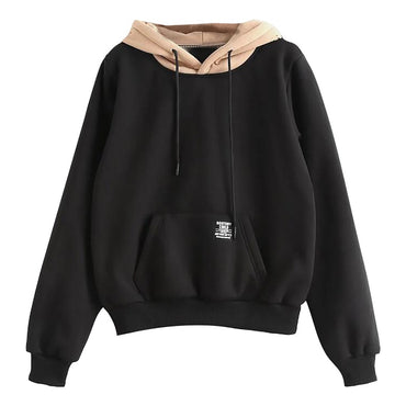 Long Sleeve Pocket Patchwork Pullover Strappy Hoodie