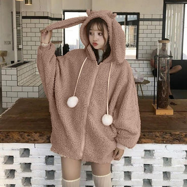 Zipper Up Loose Fluffy Teddy Hoodie