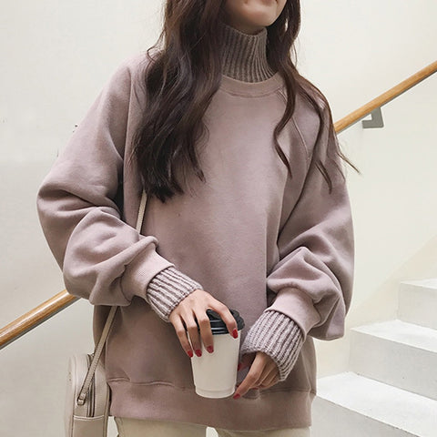 Fake Two Piece warm knit collar Sweatshirt