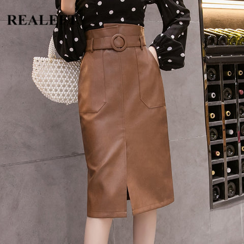 PU Leather Sheath Midi Skirts
