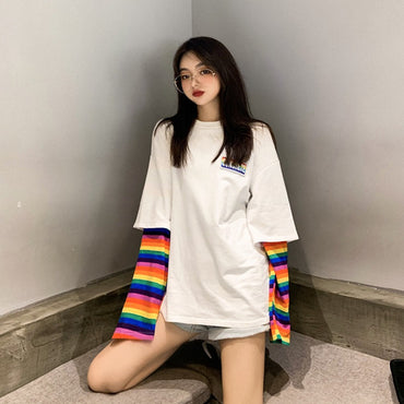 Striped Patchwork Fake Two Pieces Sweatshirt