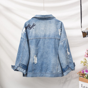 Plus Size Boyfriend Loose Ripped Dragonfly Denim Jackets