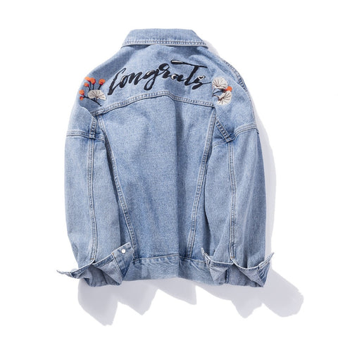 Plus Size Loose Ripped Embroidery Denim Jackets