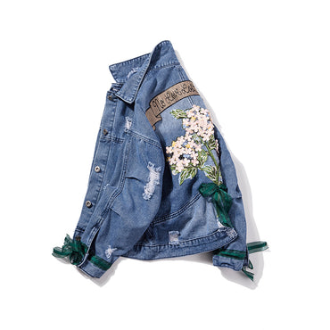Embroidered Lace Bow Heavy Denim Jacket