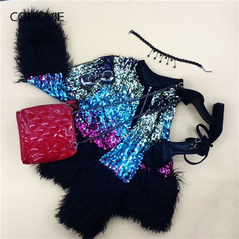 Sequin Streetwear Faux Fur Jacket