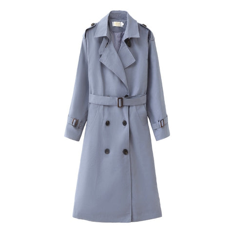Long Double-Breasted Belt Blue Coat