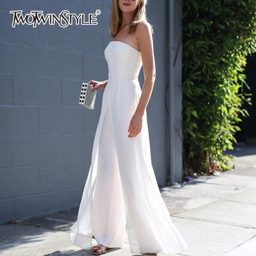 Chiffon Off Shoulder High Waist Zipper Jumpsuits