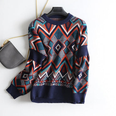 O-Neck Folk Punk Patchwork Irregular Pattern Sweater