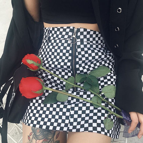 Black And White Iron Ring Checkerboard Plaid Skirt