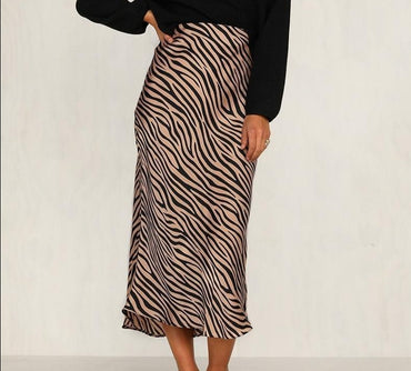 High waist straight animal print skirt