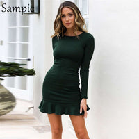 long sleeve bodycon o neck party dress
