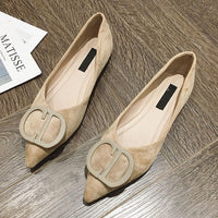 Solid Button Pointed Toe Ballet Flats Shoes